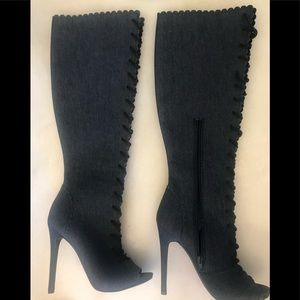 Shoes - Size 7 denim stiletto lace up boots.